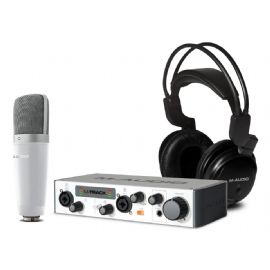 Bundle composto da Microfono a Condensatore con Diaframma largo e cavo di collegamento, interfaccia audio M-Track MKII USB, cuffia da studio VOCAL STUDIO PRO II M-AUDIO