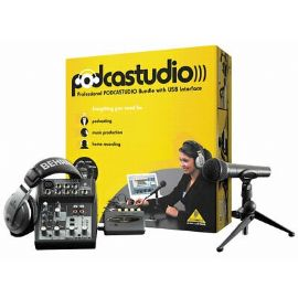 BEHRINGER PODCASTUDIO SISTEMA PODCAST MIXER XENYX 502 + CUFFIE + MICROFONO + INTERFACCIA AUDIO USB