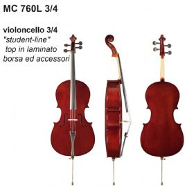 VIOLONCELLO DAM MC760L34 3/4 STUDENT LINE, TOP IN LAMINATO, BORSA E ACCESSORI