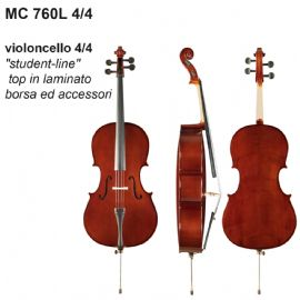 VIOLONCELLO DAM MC760L44 4/4 STUDENT LINE, TOP IN LAMINATO, BORSA E ACCESSORI